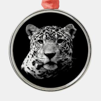 Jaguar preto & branco ornamento redondo cor prata