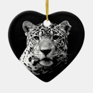 Jaguar preto & branco ornamento