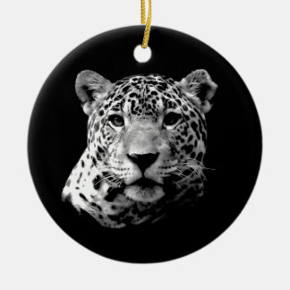 Jaguar preto & branco ornamento de cerâmica redondo