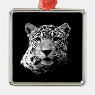 Jaguar preto & branco ornamento quadrado cor prata