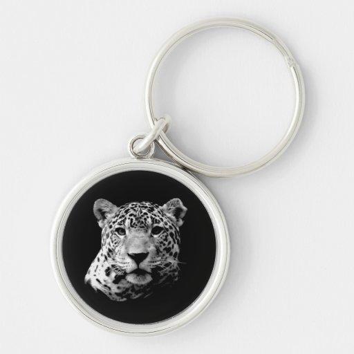 Jaguar preto & branco chaveiro