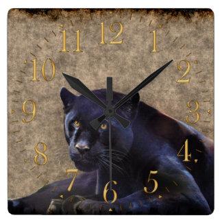 Jaguar preto, pulso de disparo de parede rústico d relógios de pendurar