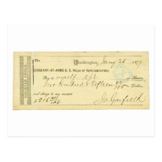 James Garfield assinou a verificação desde o 25 de Cartao Postal