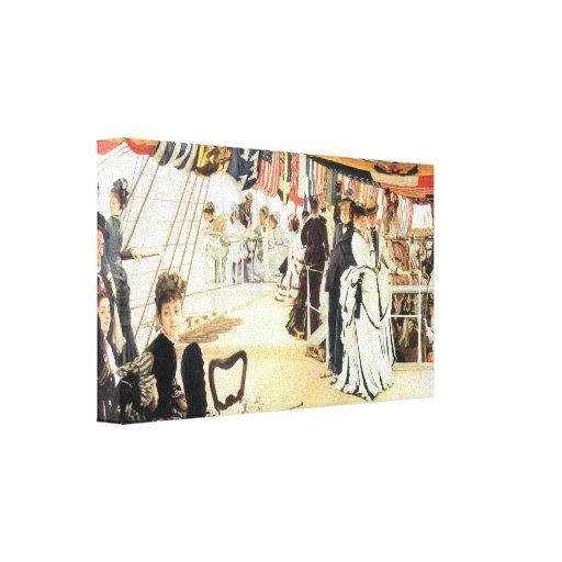 James Tissot - bola a bordo Impressão De Canvas Esticada