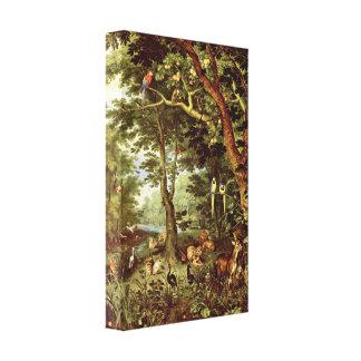 Jan Brueghel a pessoa idosa - paraíso Impressão De Canvas Esticada