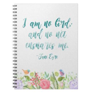 Jane Eire - eu não sou nenhum pássaro - caderno