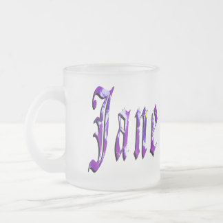 Jane, nome, logotipo, caneca do vidro de fosco