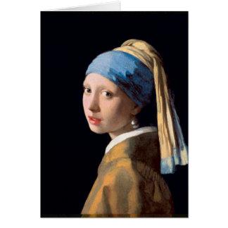 Janeiro Vermeer - menina com um brinco da pérola Cartão