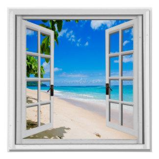 Janela azul da falsificação da vista para o mar do pôster