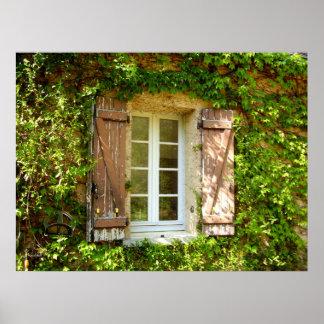 Janela da casa da quinta & poster franceses dos