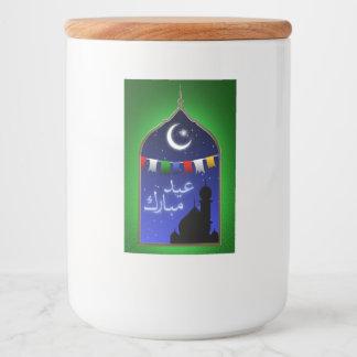 Janela de Ramadan Eid - etiqueta do recipiente de