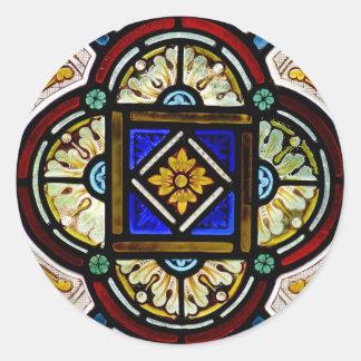 Janela de vitral adesivo em formato redondo