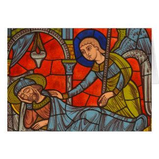 Janela de vitral da catedral de Chartres Cartão Comemorativo