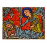 Janela de vitral da catedral de Chartres Cartoes Postais