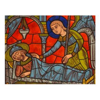 Janela de vitral da catedral de Chartres Cartão Postal