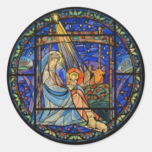 Janela de vitral da natividade adesivos redondos