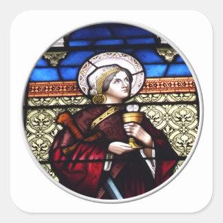 Janela de vitral de Barbara do santo Adesivo Em Forma Quadrada