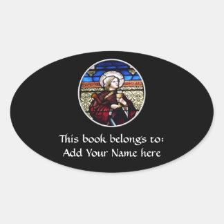 Janela de vitral de Barbara do santo Adesivos Ovais