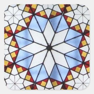 Janela de vitral geométrica adesivos quadrados