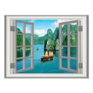 Janela do falso das montanhas do oceano do veleiro impressão de foto