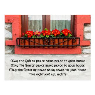 Janela irlandesa e bênção para o cartão da paz