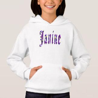 Janine, nome, logotipo, Hoodie do branco das
