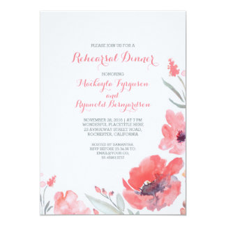 Jantar de ensaio bonito floral da aguarela convite 12.7 x 17.78cm
