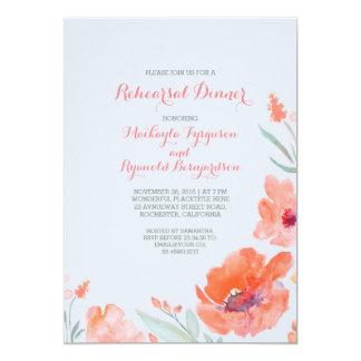 Jantar de ensaio bonito floral da aguarela do convite 12.7 x 17.78cm