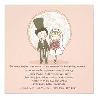 Jantar de ensaio bonito Invi do casamento dos Convite Quadrado 13.35 X 13.35cm