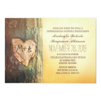 Jantar de ensaio cinzelado rústico da árvore do convite 12.7 x 17.78cm