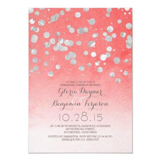 jantar de ensaio cor-de-rosa coral dos confetes convite 12.7 x 17.78cm