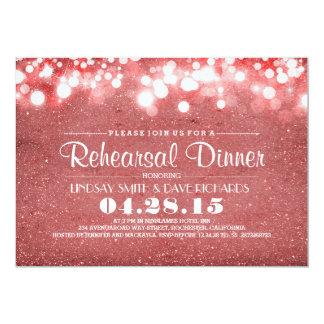 Jantar de ensaio cor-de-rosa das luzes do brilho & convites personalizados