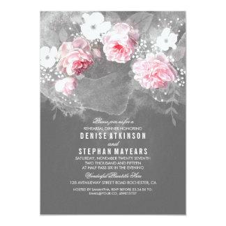 Jantar de ensaio cor-de-rosa do rosa & as brancas convite 12.7 x 17.78cm