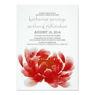 jantar de ensaio da flor da flor da aguarela convite 12.7 x 17.78cm