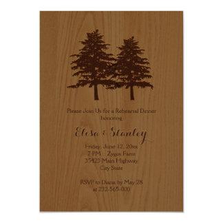 Jantar de ensaio da madeira & do casamento da convites
