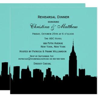 Jantar de ensaio da silhueta da skyline de NYC Convite Quadrado 13.35 X 13.35cm