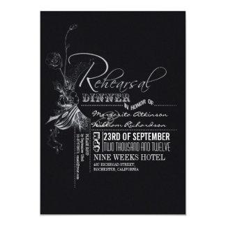 Jantar de ensaio da tipografia do vintage do convites personalizados