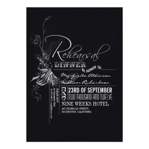 Jantar de ensaio da tipografia do vintage do quadr convites personalizados