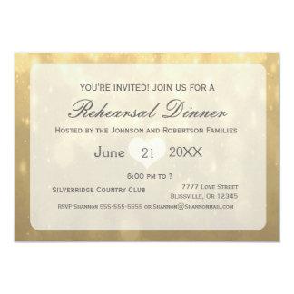 Jantar de ensaio de Bokeh | do ouro Convite 12.7 X 17.78cm