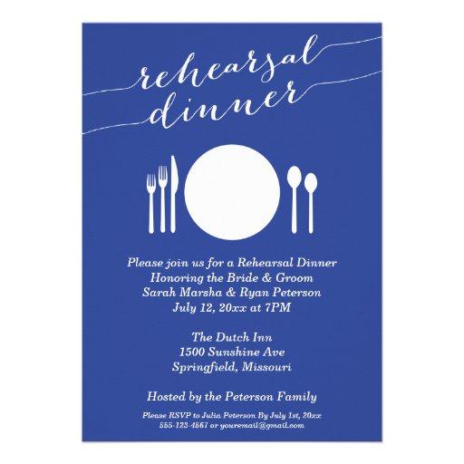 Jantar de ensaio de jantar formal no azul convites personalizado