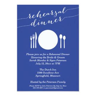 Jantar de ensaio de jantar formal no azul convite 12.7 x 17.78cm