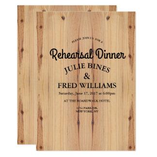 Jantar de ensaio de madeira simples convite 12.7 x 17.78cm