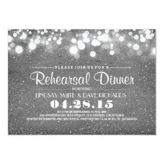 Jantar de ensaio de prata das luzes do brilho & da convites personalizados