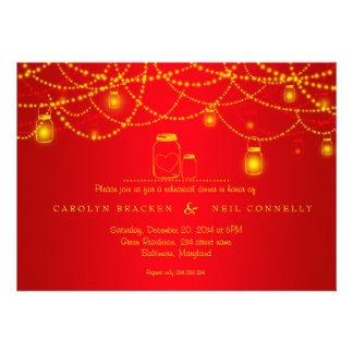 Jantar de ensaio do vermelho das luzes Sparkling Convites Personalizado