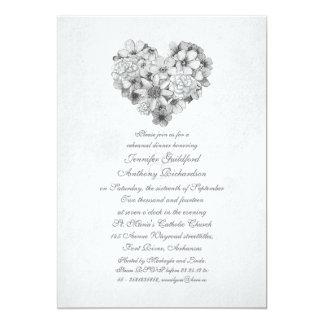 jantar de ensaio do vintage do coração das flores convite 12.7 x 17.78cm