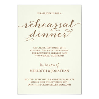 Jantar de ensaio elegante convites personalizados