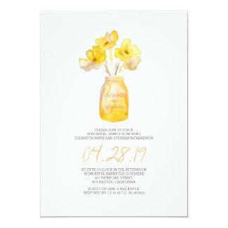 JANTAR DE ENSAIO floral amarelo da aguarela Convite 12.7 X 17.78cm