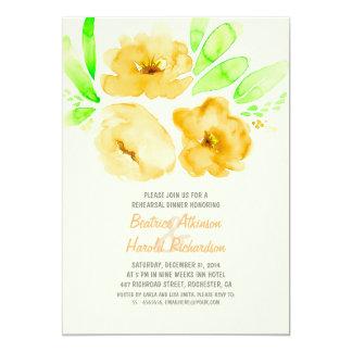 Jantar de ensaio floral amarelo romântico convite 12.7 x 17.78cm