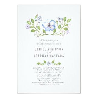 Jantar de ensaio floral azul da aguarela convite 12.7 x 17.78cm