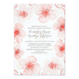 Jantar de ensaio floral cor-de-rosa da grinalda do convite 12.7 x 17.78cm